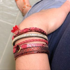 Jewelry - BOGO SALE Multilayered Red Leather Cuff Bracelet
